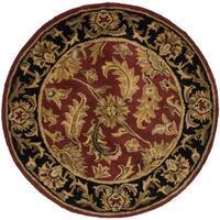 Safavieh Handmade Heritage Traditional Kashan Burgundy/ Black Wool Rug - 4' x 4' Round