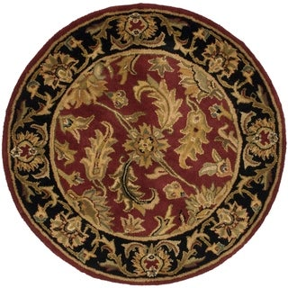Safavieh Handmade Heritage Traditional Kashan Burgundy/ Black Wool Rug (4u0027  X 4u0027