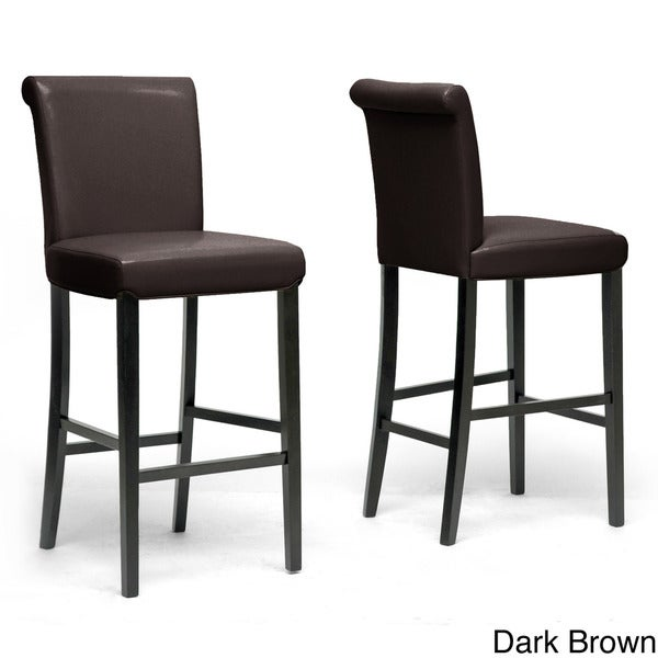 "Wholesale Interiors Cognac Dark Brown Leather Bar Stool: Traditional 30"" Bar Stool By Baxton Studio"