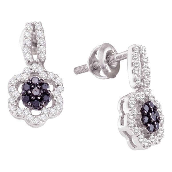 be99a7b812 Shop 10kt White Gold Womens Round Black Color Enhanced Diamond Flower  Cluster Dangle Earrings 1/4 Cttw - On Sale - Free Shipping Today -  Overstock.com - ...