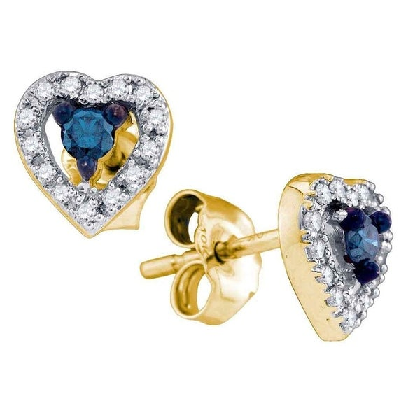 c0d8541c7 Shop 10kt Yellow Gold Womens Round Blue Color Enhanced Diamond Heart Stud  Earrings 1/5 Cttw - Free Shipping Today - Overstock - 22386214