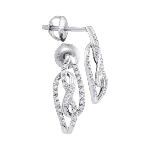 10kt White Gold Womens Round Diamond Infinity Back Stud Earrings 1 6 Cttw