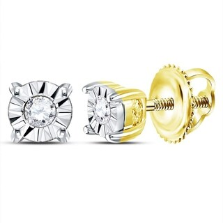 10kt Yellow Gold Womens Round Diamond Solitaire Illusion Earrings 1/20 Cttw