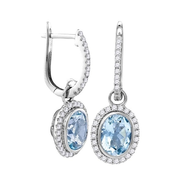 1acdb748b53 Shop 14kt White Gold Womens Round Natural Aquamarine Diamond Oval Dangle  Earrings 2-3 8 Cttw - Free Shipping Today - Overstock - 22386888