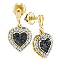 10kt Yellow Gold Womens Round Black Color Enhanced Diamond Heart Frame Dangle Earrings 1/2 Cttw