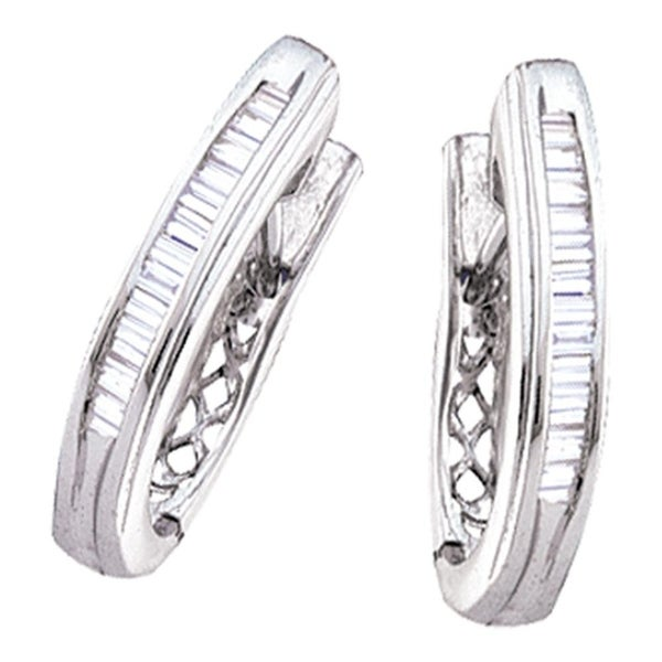 10kt White Gold Womens Baguette Channel Set Diamond Hoop Earrings 1 2 Cttw