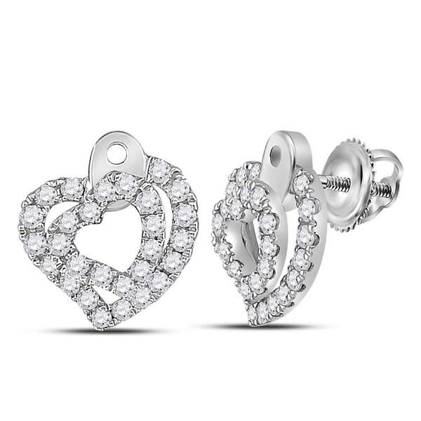 56c704e0d0b 14kt White Gold Womens Round Diamond Heart Stud Earrings 1/3 Cttw