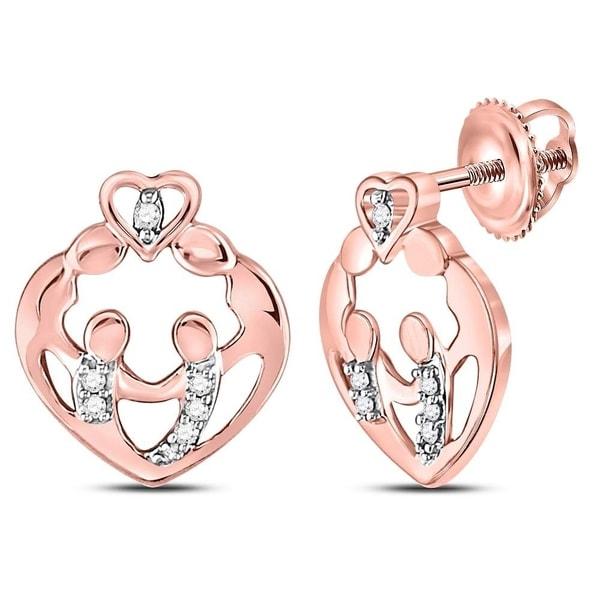 10kt Rose Gold Womens Round Diamond Mother Child Heart Stud Earrings 1 12 Cttw