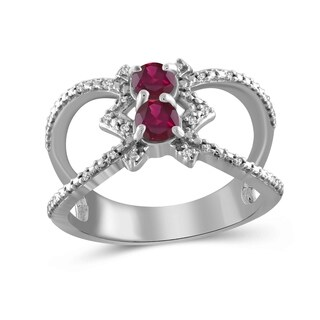 JewelonFire 0.60 Carat Genuine Ruby & 1/20 Ctw White Diamond Sterling Silver Geometric Ring