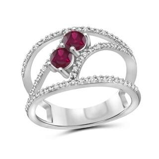 JewelonFire 0.60 Carat Genuine Ruby & 1/20 Ctw White Diamond Sterling Silver Geometric Ring