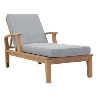 Pier Outdoor Patio Teak Single Chaise - N/A