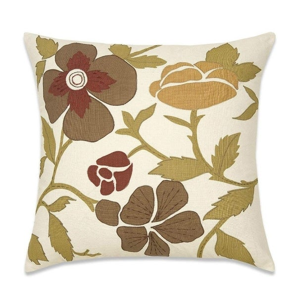 Couch Pillow Cover Flower Embroidered French Bucolic