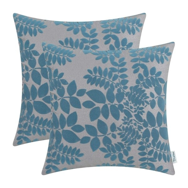 Flocking Cute Leaves, Grey Teal Throw Pillow Cases