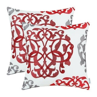 Throw Pillow Cases Floral Embroidered
