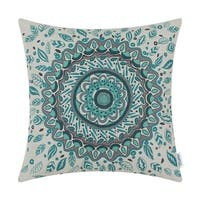 Floral Compass Leaves Medallion Pillow Cover Teal