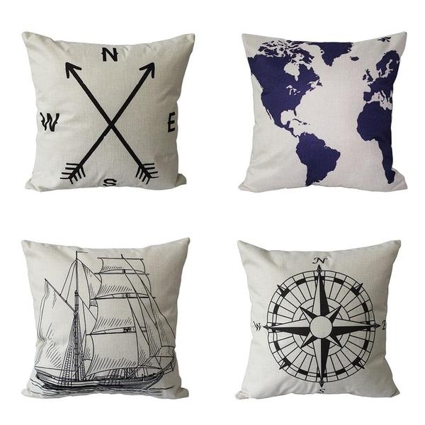 Shop Linen Nautical Style Sofa Throw Pillow Case On Sale
