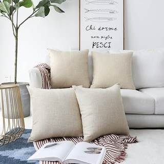Lined Linen Square Throw Pillow Cases