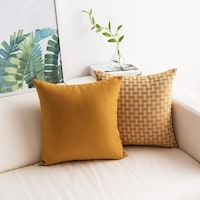 Faux Linen Pillow Covers White/Mustard