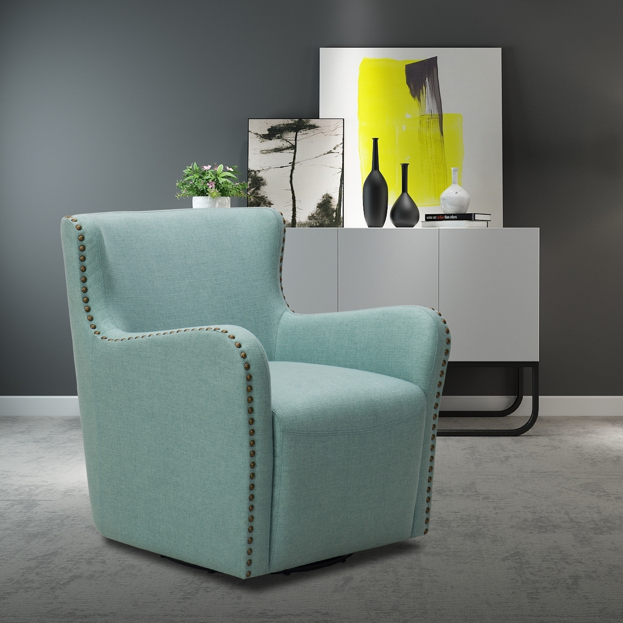 Crosstown Upholstered Swivel Chair (Aqua)