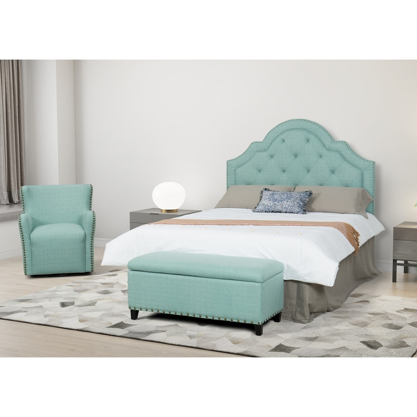 Crosstown Arched Upholstered Head Board (Green - Queen)