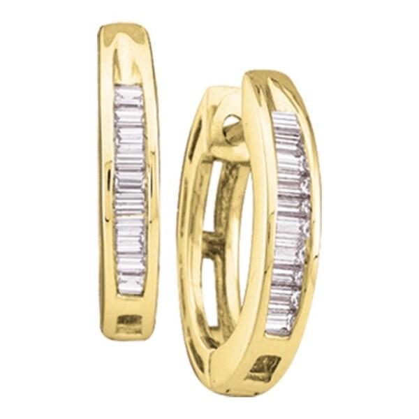 10kt Yellow Gold Womens Baguette Diamond Huggie Hoop Earrings 1 6 Cttw