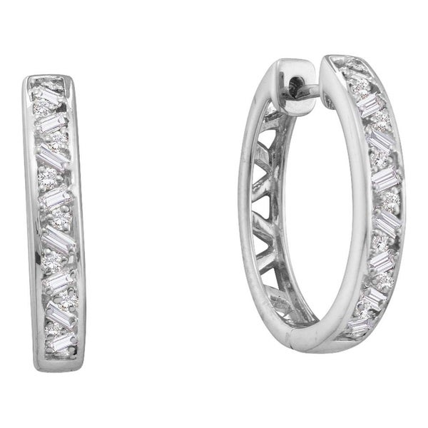 14kt White Gold Womens Round Baguette Diamond Hoop Earrings 1 2 Cttw On Free Shipping Today 22388540