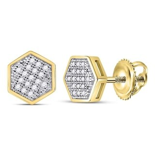 10kt Yellow Gold Womens Round Diamond Hexagon Cluster Stud Earrings 1/10 Cttw