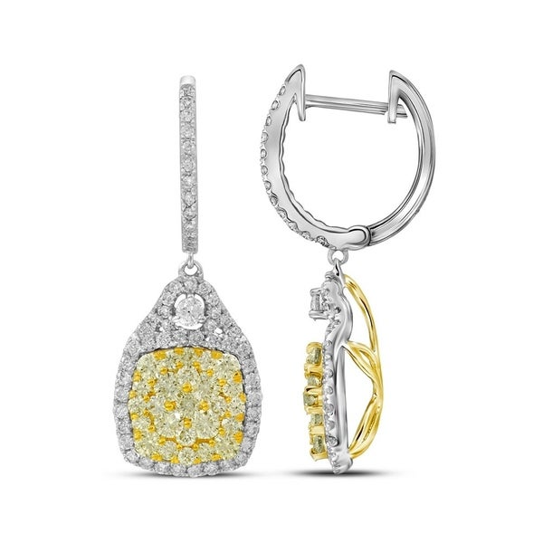 14kt White Gold Womens Round Canary Yellow Diamond Dangle Earrings 2 1 Cttw