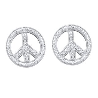 10kt White Gold Womens Round Diamond Peace Sign Earrings 1/6 Cttw