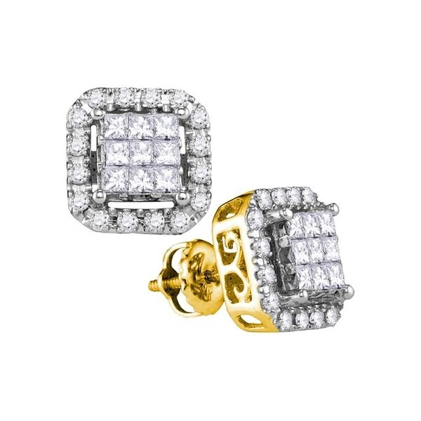 14kt Yellow Gold Womens Princess Diamond Square Frame Cer Stud Earrings 1 00 Cttw