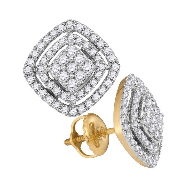 454e172b4 Shop 14kt Yellow Gold Womens Round Diamond Square Cluster Screwback Earrings  1/2 Cttw - Free Shipping Today - Overstock - 22389039