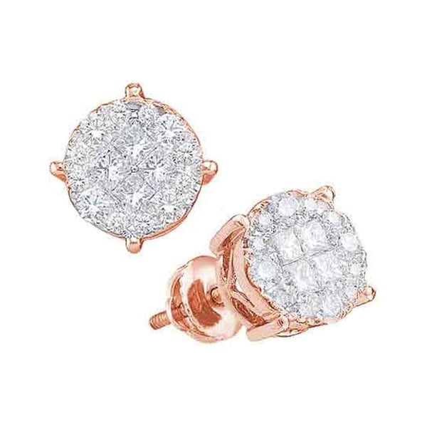 14kt Rose Gold Womens Princess Round Diamond Soleil Cer Earrings 1 2 Cttw