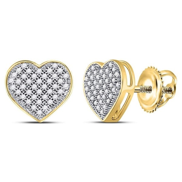 803569de9 Shop 10kt Yellow Gold Womens Round Diamond Heart Cluster Screwback Earrings  1/5 Cttw - Free Shipping Today - Overstock - 22389307