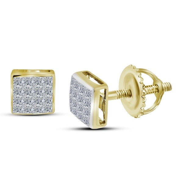 14kt Yellow Gold Womens Princess Diamond Square Cer Stud Earrings 3 8 Cttw