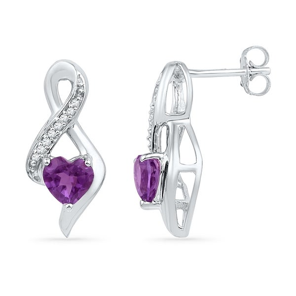 10kt White Gold Womens Heart Lab Created Amethyst Solitaire Infinity Stud Earrings 1 20