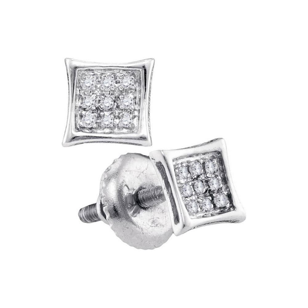 10kt Yellow Gold Mens Round Diamond Square Kite Cluster Stud Earrings 1//3 Cttw