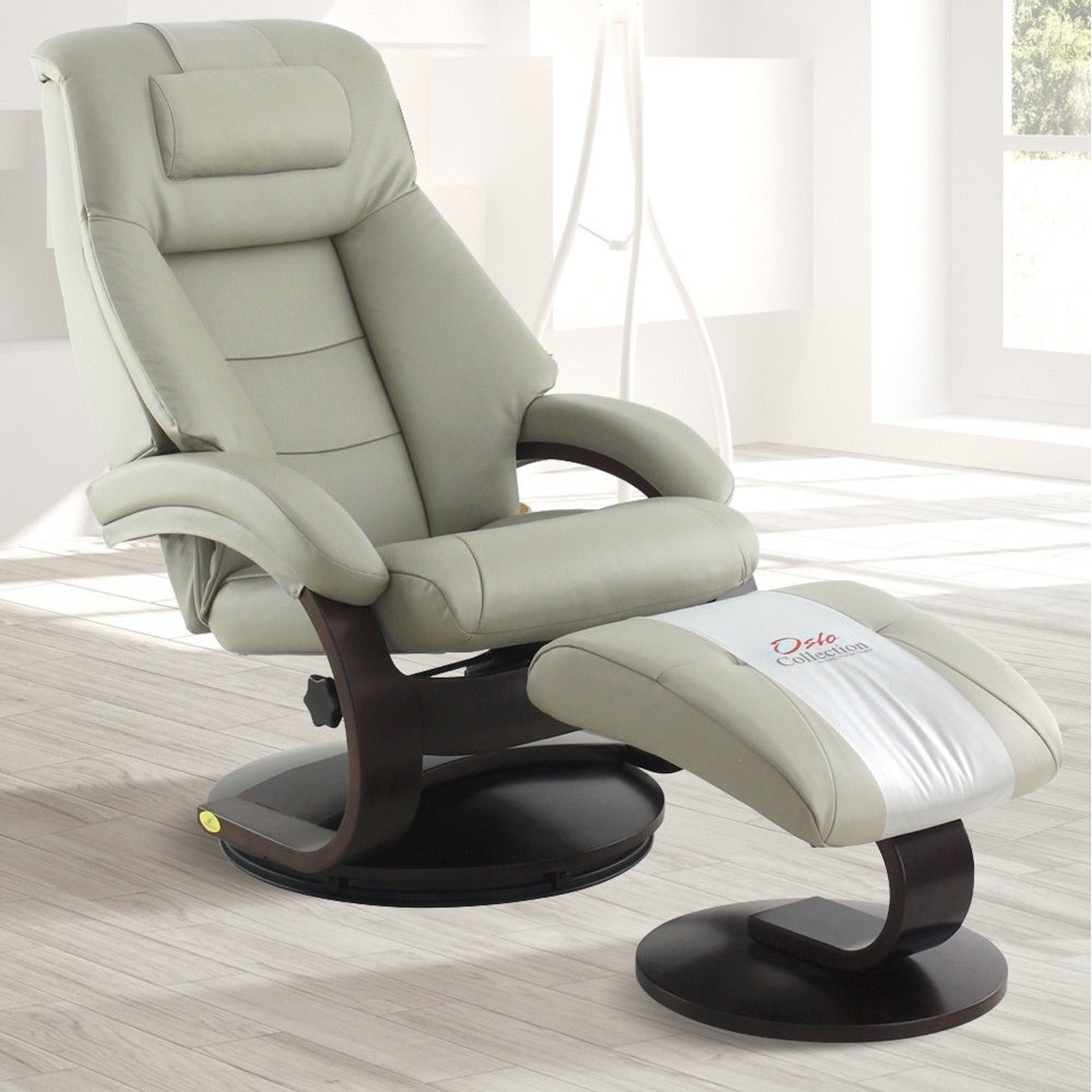 Mac Motion Oslo Collection Mandal Putty Top-grain Leather Cervical Pillow Recliner and Ottoman (Taupe)
