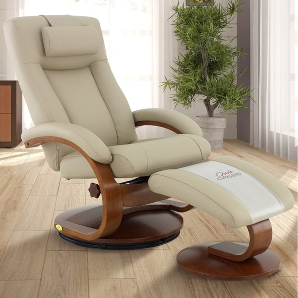 Mac Motion Oslo Collection Cobblestone Top-grain Leather Hamar Recliner and Ottoman with Cervical Pillow