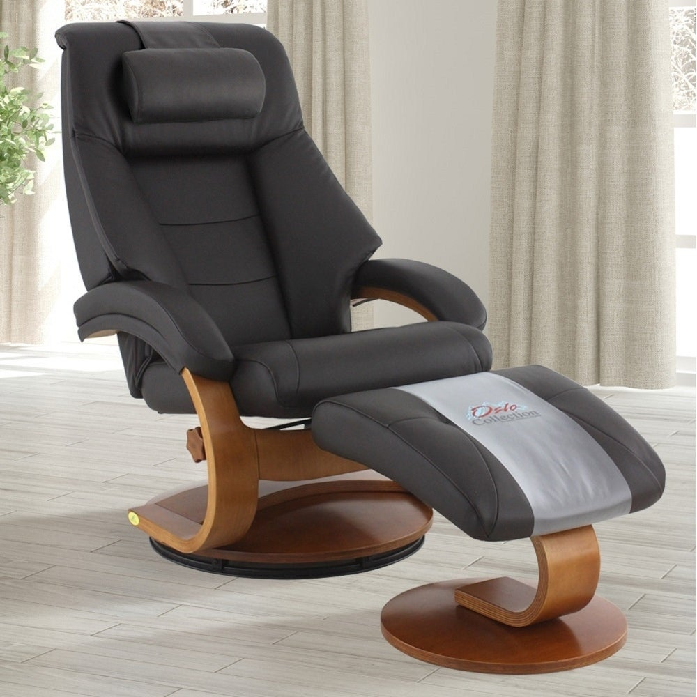 Mac Motion Oslo Collection Mandal Espresso Top-grain Leather Cervical Pillow Recliner and Ottoman