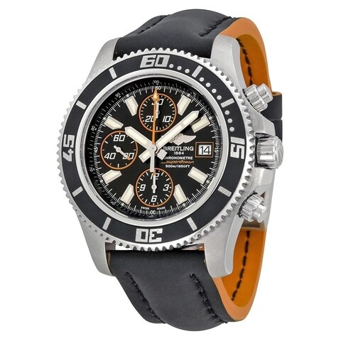 Breitling Men's 'Superocean II 44' Chronograph Automatic Black Leather Watch