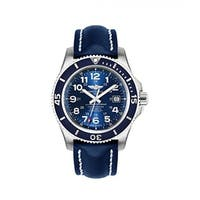 Breitling Men's A17392D8-C910-105X 'Superocean II 44' Automatic Blue Leather Watch