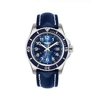 Breitling Men's 'Superocean II 44' Automatic Blue Leather Watch