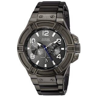 Guess Men's 'Classic' Multi-Function Black Stainless Steel Watch