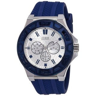 Guess Men's W0674G4 'Dress' Multi-Function Blue Rubber Watch