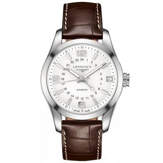 Longines Men's L27994763 'Conquest' Automatic Brown Leather Watch