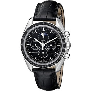 Omega Men's 3876.50.31 'Speedmaster' Chronograph Moonphase Hand Wind Black Leather Watch