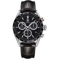 Tag Heuer Men's CV1A10.FC6235 'Carrera' Chronograph Black Leather Watch