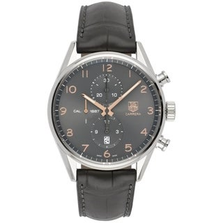 Tag Heuer Men's 'Carrera' Chronograph Black Leather Watch
