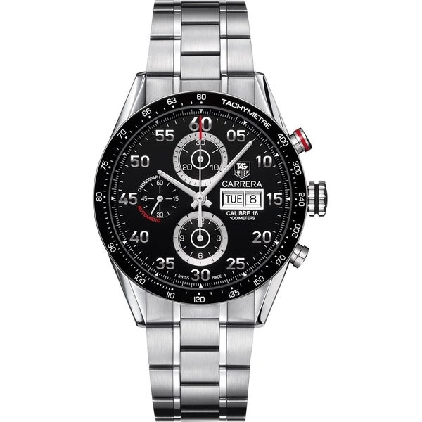 f4240c53d9c Shop Tag Heuer Men's CV2A1R.BA0796 'Carrera' Chronograph Automatic  Stainless Steel Watch - Free Shipping Today - Overstock - 22391222