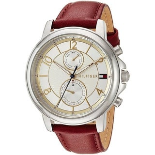 Tommy Hilfiger Women's 'Claudia' Multi-Function Red Leather Watch